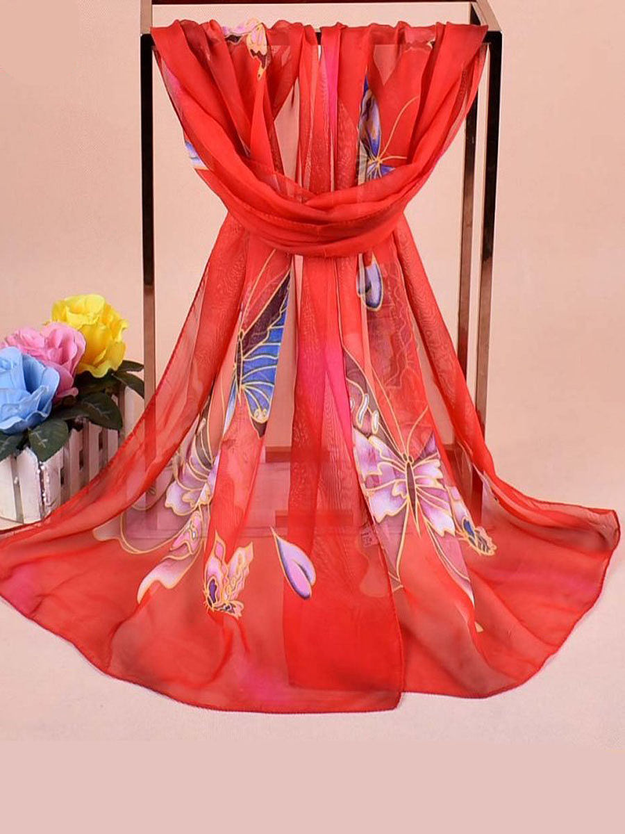Women Chiffon Scarf Travel Butterflies Flowers Breathable Scarves