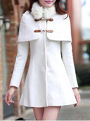 Faux-Fur-Collar-Plain-Woolen-Coat-With-Detachable-Cape