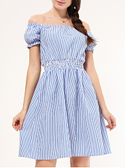 Off Shoulder  Elastic Waist  Striped Skater Dress