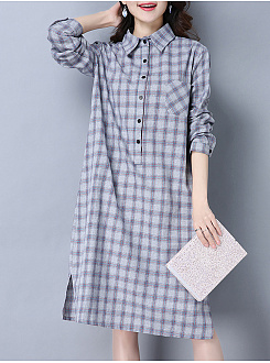 Turn Down Collar  Patch Pocket  Plaid Shift Dress