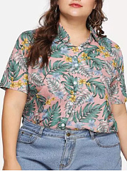 Polo Collar  Printed  Short Sleeve Plus Size Blouse