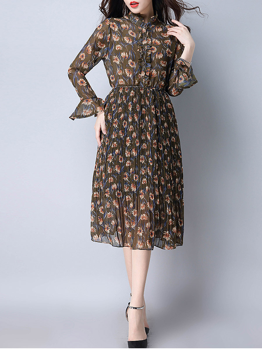 Band Collar Floral Printed Chiffon Pleated Maxi Dress