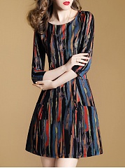 Multi-Color-Asymmetric-Stripe-Patch-Pocket-Skater-Dress