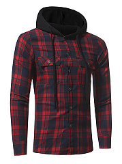 Plaid Flap Pocket Single Breasted Men Hoodie