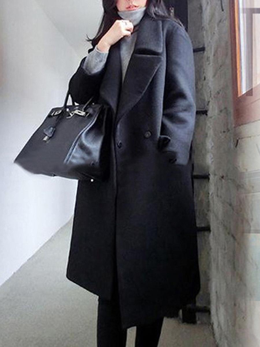 Lapel Plain Flap Pocket Woolen Coat