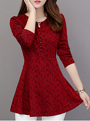 Autumn Spring Winter  Cotton Lace  Women  Round Neck  Plain  Long Sleeve Blouses