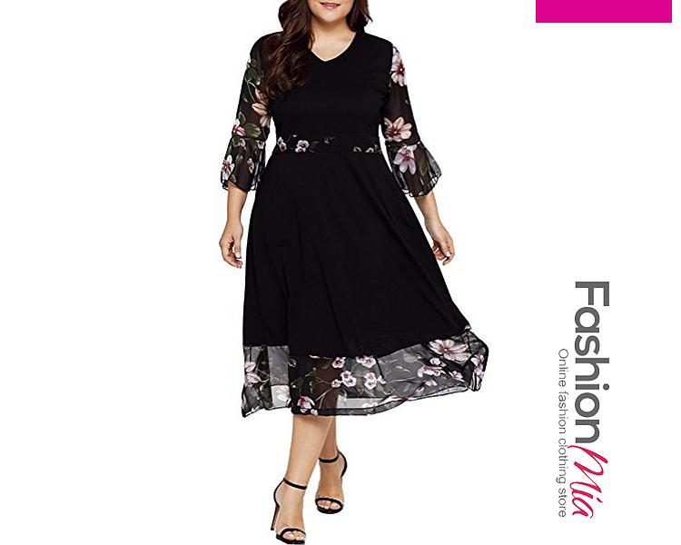 V-Neck  Flounce  Printed Plus Size Midi  Maxi Dresses