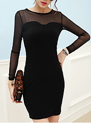 Round Neck See-Through Plain Bodycon Dress