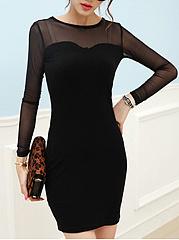 Round-Neck-See-Through-Plain-Bodycon-Dress