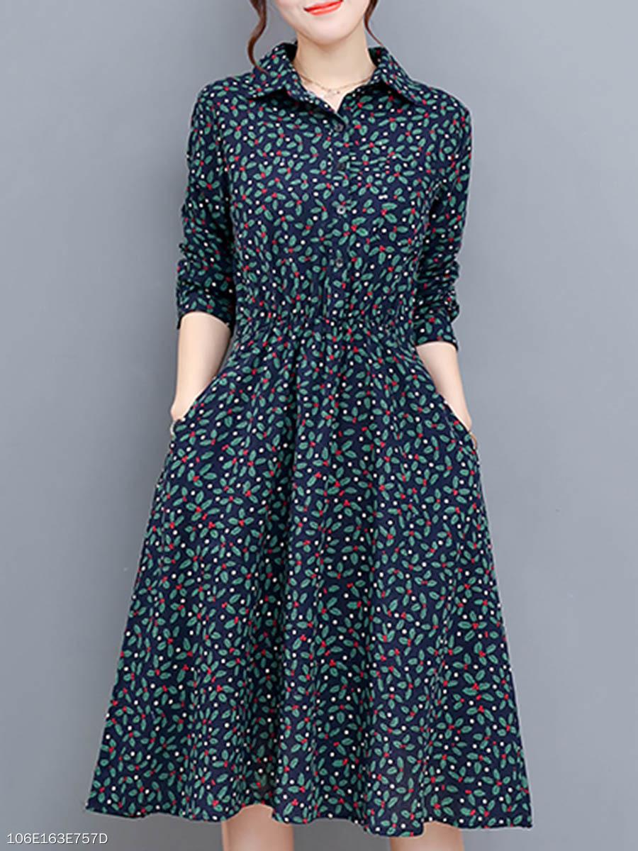 Turn Down Collar Elastic Waist Pocket Floral Printed Midi Skater Dress 7660cf433