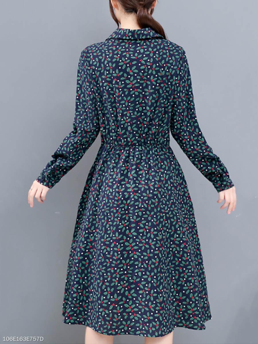Turn Down Collar Elastic Waist Pocket Floral Printed Midi Skater ... a56d43497