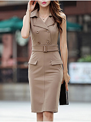 Fold-Over Collar  Decorative Button  Plain Bodycon Dress