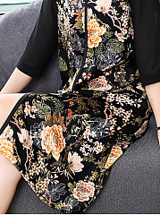 Round Neck  Patchwork  Fashion Printed Shift Dress