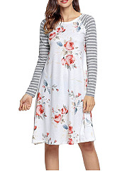 Crew Neck  Floral Printed Striped Shift Dresses