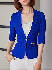 Narrow Notch Lapel  Flounce  Chain  Plain  Half Sleeve Blazers