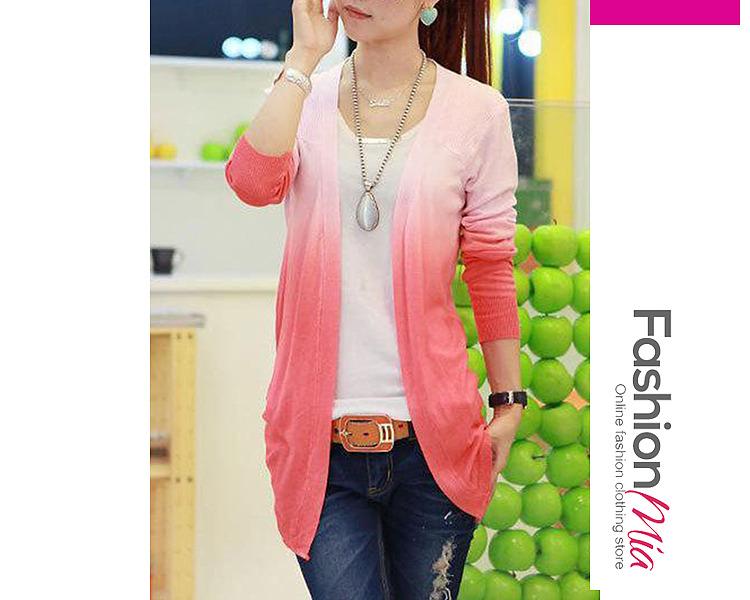 Image of Asymmetric Hem Gradient Knit Cardigans