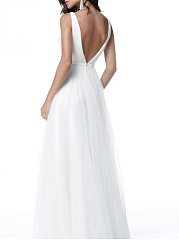 Deep V-Neck  Backless  Plain Evening Dress