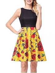 Round-Neck-Floral-Printed-Sleeveless-Skater-Dress