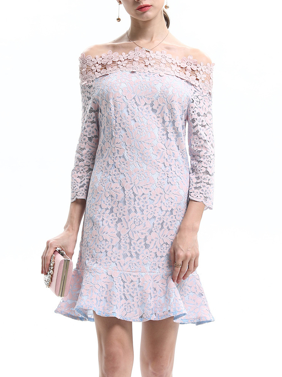 Off Shoulder Lace Hollow Out Mermaid Bodycon Dress