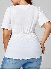 Deep V-Neck  Drawstring  Plain  Half Sleeve Plus Size Tops