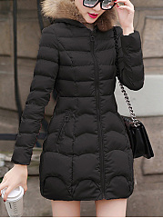 Hooded Zips Pocket Quilted Padded Coat