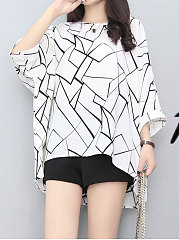 Spring Summer  Polyester  Women  Round Neck  Geometric  Batwing Sleeve  Half Sleeve Blouses
