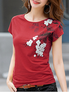 Polyester  Round Neck  Floral Printed Short Sleeve T-Shirts