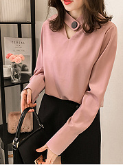 Polyester  Band Collar  Plain  Long Sleeve Blouse