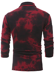 Polo Collar  Tie/Dye  Long Sleeve Long Sleeves T-Shirts