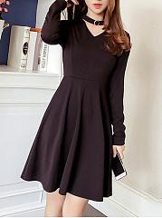 Band-Collar-Cutout-Plain-Long-Sleeve-Skater-Dress