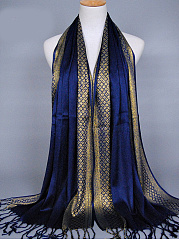 National Style Soft Elegant Color Block Cotton Scarf