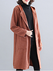 Hooded  Single Breasted Slit Pocket  Plain  Long Sleeve Trench Coats