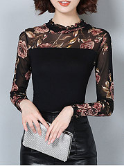 Autumn Spring  Polyester  Women  Round Neck  Floral Printed Long Sleeve T-Shirts