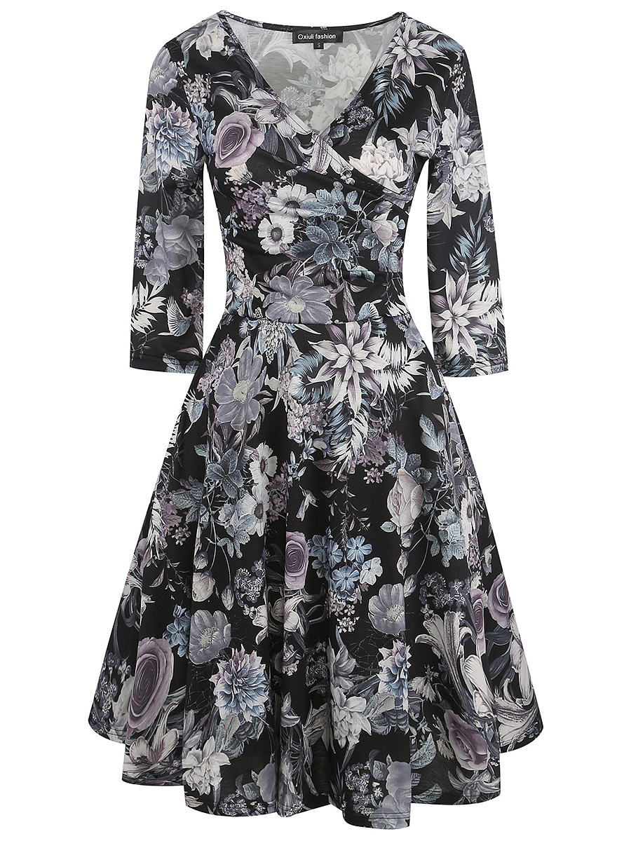 Surplice  Printed  Polyester Skater Dress