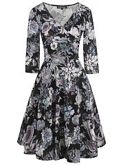 Surplice-Printed-Polyester-Skater-Dress