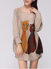Autumn Spring  Cotton  Women  Round Neck  Cat Animal Printed Long Sleeve T-Shirts
