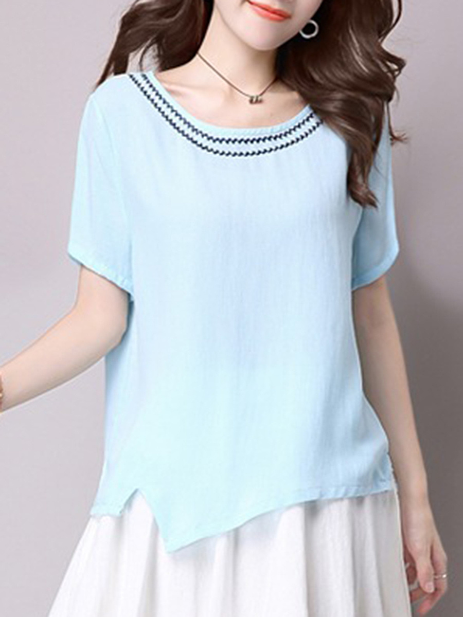 Round Neck Asymmetric Hem Vented Embroidery Short Sleeve T-Shirt