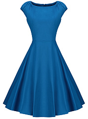 Summer Round Neck Plain Skater Dress