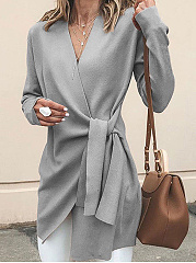 Deep V-Neck  Belt  Plain  Long Sleeve Trench Coats