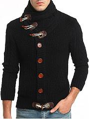 High-Neck-Diagonal-Buttons-Plain-Mene28099S-Cardigan