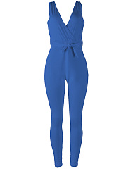 Deep-V-Neck-Plain-Slim-Leg-Jumpsuit