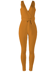 Deep V-Neck  Plain  Slim-Leg Jumpsuit