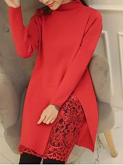High-Neck-Patchwork-Hollow-Out-Plain-Sweater-Dress