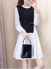 Color Block Striped Round Neck Fake Two-Piece Skater Dress