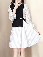 Color-Block-Striped-Round-Neck-Fake-Two-Piece-Skater-Dress