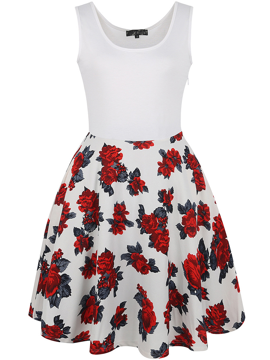 Round Neck Skater Dress In Floral Printed