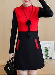Round Neck  Patch Pocket  Color Block Shift Dress