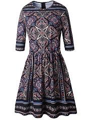 Round-Neck-Tribal-Printed-Half-Sleeve-Skater-Dress