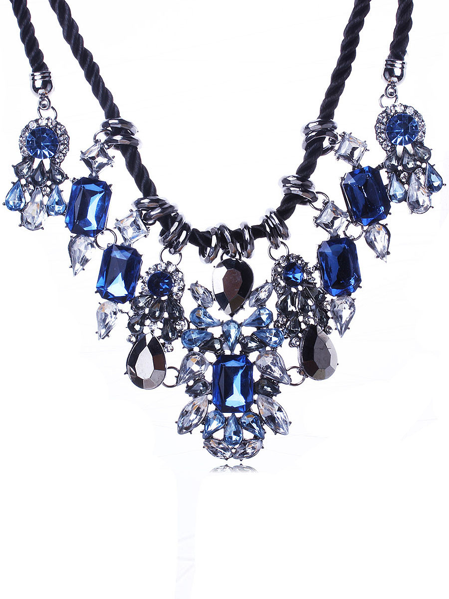 Blue Crystal Layers Necklace