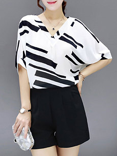 Summer  Polyester  Women  V-Neck  Striped  Short Sleeve Blouses